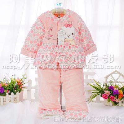 旺贝特天鹅绒棉服两件套儿童对襟棉袄棉裤婴幼儿秋冬棉衣套装2728