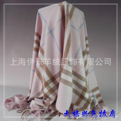 外贸原单欧美品牌男士女士羊绒围巾批发 B家英伦范格子围巾大批肩
