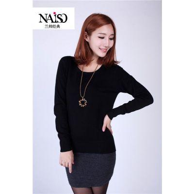 供应新韩版女装圆领长袖针织衫 打底衫女简约时尚 女装批发