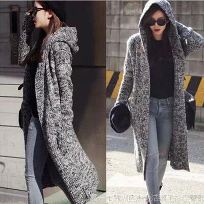 2015春秋新款女装韩国东大门修身显瘦带帽长款针织毛衣开衫外套