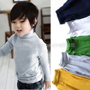供应秋冬款儿童高领打底衫长袖t恤女童男童打底衫加厚纯棉莱卡糖果色