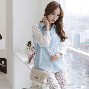 供应2014春装新款女装韩版宽松拼色开衫单排扣方领雪纺长袖女式衬衫