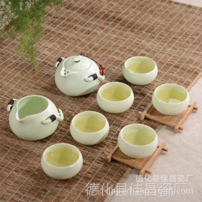 厂家直销 高档8头定窑茶具套装 整套陶瓷功夫茶具茶盘套装 批发