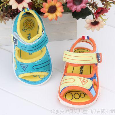 童盟婴儿鞋夏0-2男女宝宝露趾凉鞋网面叫叫鞋透气防滑学步会叫鞋
