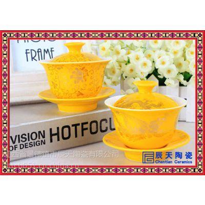传承特色手工陶瓷盖碗 生产来图盖碗 青花瓷串子莲盖碗