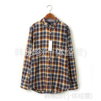 原单男式衬衫 全棉长袖 美国t**y汤*格子男士衬衫 外贸衬衫批发