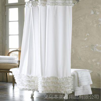 厂家低价批发高档家居用品超厚垂感好防水防霉白色花边涤纶浴帘