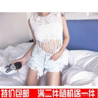 韩妹子2015夏季新款水洗浅色欧美夏日破洞热裤修身显瘦性感女裤