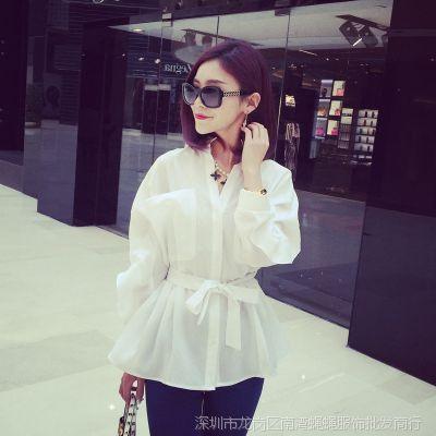 小银子2015春装新款韩版气质腰间系带白色长袖衬衫女C3285