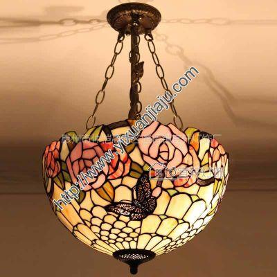 供应欧式宜轩蒂凡尼蝴蝶花艺术反吊灯客厅卧室花园吊灯具30CW