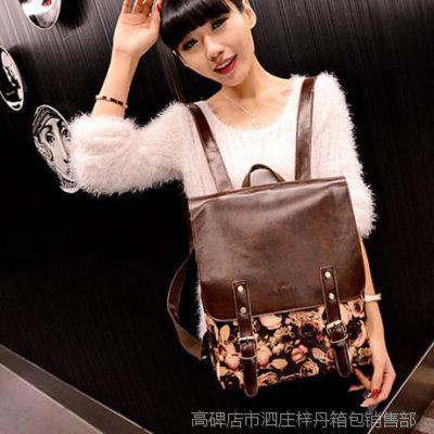 2015新款潮韩版时尚玫瑰复古双肩包学院风学生书包品牌大容量女包