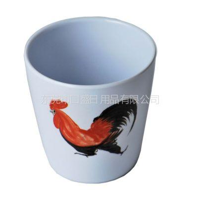 供应杀菌抗菌餐具厂家直供公鸡系列美耐皿水杯 定制鸡公系列密胺无耳杯 仿瓷餐具