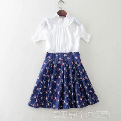 2015新款森女文艺范领子松紧雪纺短袖抽绳收腰连衣裙E943 0.30