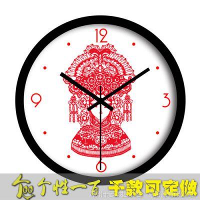 女京剧脸谱时钟 钟表挂钟客厅中国风格个性订制钟表创意礼物