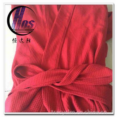供应多种素色针织CVC棉涤华夫格 睡衣浴袍面料 0.5cm格子华夫格