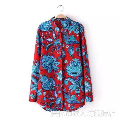 B1厂家直销2015欧洲站女装夏季新款品牌同款图腾印花女式衬衫雪纺