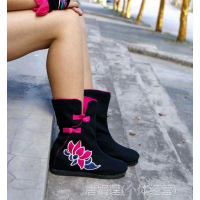 XHX-ZLX 女靴正品秋冬民族风中筒拉链靴子内增高绣花靴帆布靴子