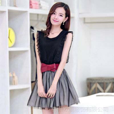 热销夏季新款时尚女装 韩版百搭纯色中长款女士连衣裙 批发