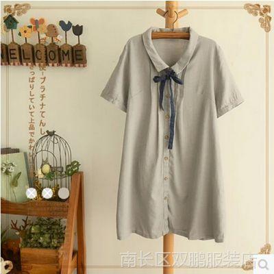 07386POLO领领带褶条棉麻短袖连衣裙日系森女系