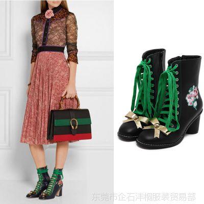 2016新款 花朵刺绣 民族风短靴  金色蝴蝶结 粗跟绑带马丁靴短靴