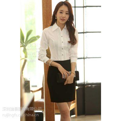 深圳职业装订做女士衬衣量身定制翻领纯色衬衫定做