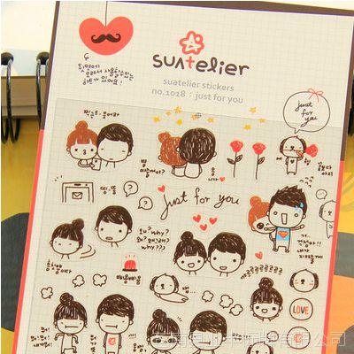 韩国正版 可爱笑脸颜文字透明pvc贴纸日记表情贴纸卡通心情装饰贴图片