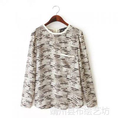 AZ-(Z)8054ET2015春装新款 欧美风梦幻印花小口袋长袖套头雪纺衫
