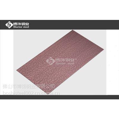 批量包工料不锈钢板拉丝加工,304不锈钢镀红古铜石纹板图片