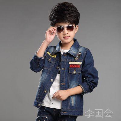2015秋季新款 外贸童装批发 小中大儿童 男童薄外套牛仔服上衣501