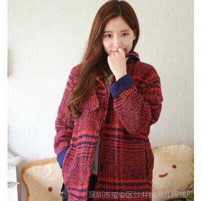 2014秋冬新款女装时尚韩版宽松呢子大衣红色格子翻领毛呢外套