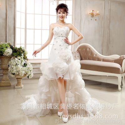2015新品短款婚纱前短后长拖尾婚纱苏州白色新娘结婚姐妹礼服批发