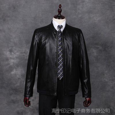 秋季海宁皮衣男士绵羊皮夹克机车 中老年男式真皮皮衣外套 反绒皮