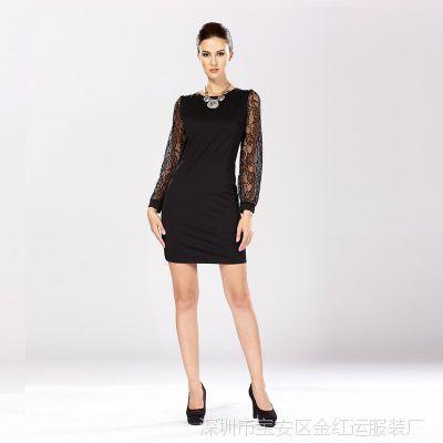 2014秋装上新 搭配大衣风衣 修身包臀 蕾丝连身裙 外贸新款镂空裙