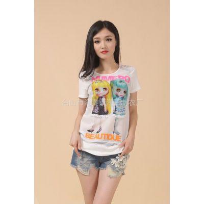 供应时尚韩国绒美女图印花T恤 R-8018