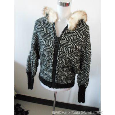 秋冬女装新款加绒加厚针织衫大衣 保暖短装带帽外套毛衣一件代发