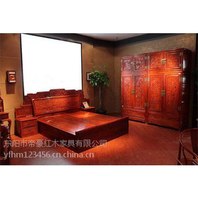 供应陕西西安帝豪红木家具店 古典中式 仙女大床 缅甸花梨木家具