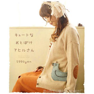 C1560 春款森女系兔羊毛混纺 绣花小鸟 开衫女式毛衣外套
