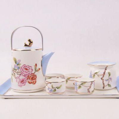 精品手绘茶具 高档礼品瓷茶具 唐山6头手绘镶金拍色茶具批发零售