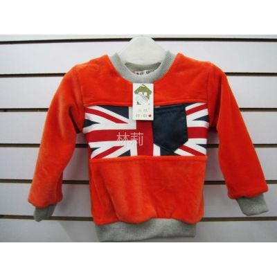 供应2012冬季 新款 加厚 保暖 男童 打底衫 橙色 外国国旗