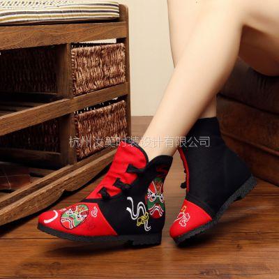 汝美绣花鞋厂2016秋季新款169-1圆头平跟36女靴布靴民族风搭扣