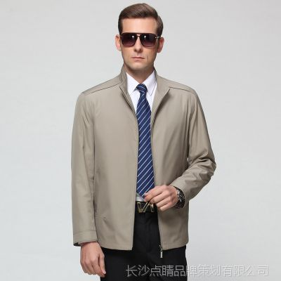 男士春秋薄款金利来修身夹克外套秋冬装中年父亲装爸爸装上衣服