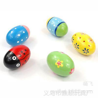 木制玩具彩色大号沙蛋木蛋 木质沙球 婴幼儿益智早教玩具批发