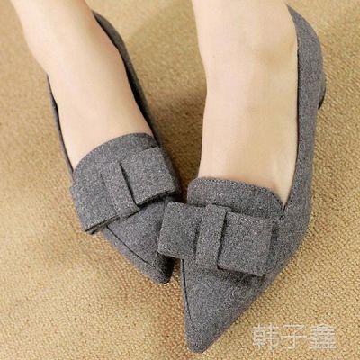 新款韩版春秋季深口尖头女鞋夏款女式粗跟高跟大码单鞋蝴蝶结