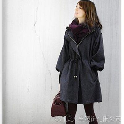 【优质版】2015秋冬韩版宽松呢料外套女式风衣毛呢大衣外套批发