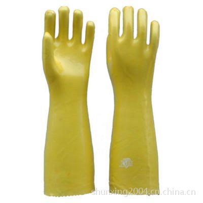 黄色浸塑手套 pvc劳保手套批发 耐油耐酸碱 全棉内衬 45cm 六防