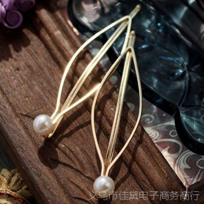 T133 韩版 简约大气欧美风 百搭珍珠金色发夹边夹头饰女 边夹