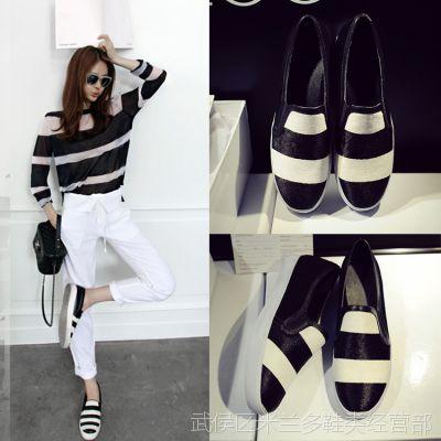 2015黑白拼色懒人鞋舒适平底硫化女靴欧洲站大牌低帮单鞋一件代发