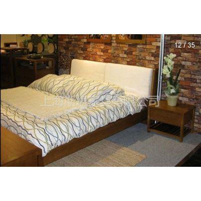 供应田园风格 北欧篱笆 水曲柳实木床 软包床 床头柜