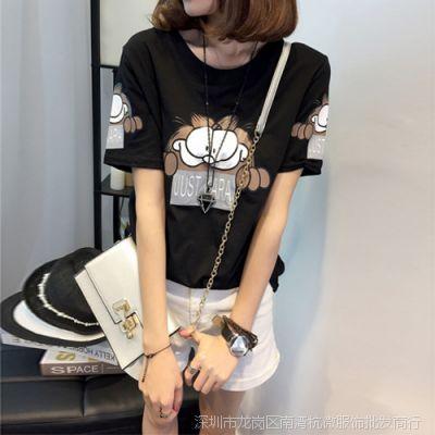 T恤女2015夏宽松学生大码圆领加菲猫印花纯棉修身短袖薄款显瘦T恤
