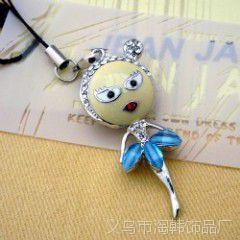 韩国饰品卡通娃娃蓝色裙子镶钻跳舞女孩手机链手机挂件【8012-1】